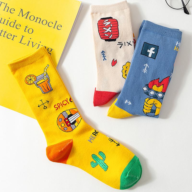 左右不对称袜子女ins潮春秋街头欧美韩版潮流个性设计纯棉中筒袜