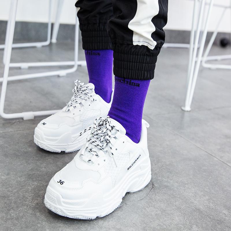 蓝色紫色ins网红袜子男女韩版夏季秋薄款中筒袜子字母潮长袜堆堆
