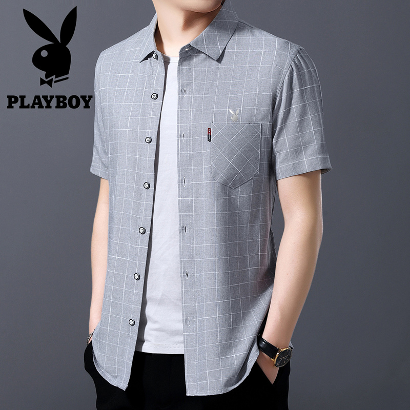 Playboy Summer Short Sleeve Shirt Mens middle-aged business leisure loose size fathers Plaid Cotton Shirt