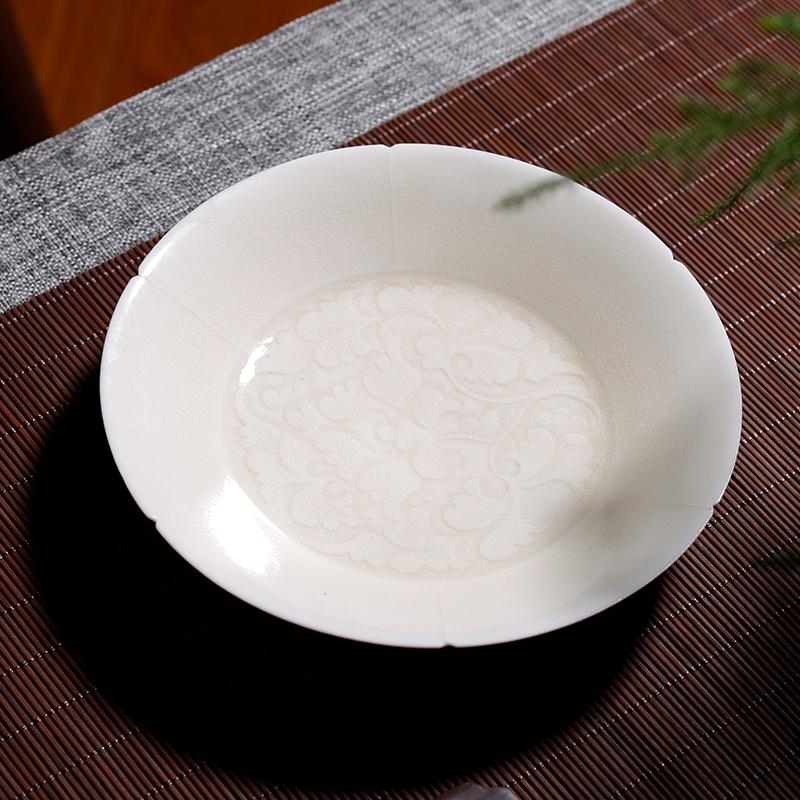 观复博物馆仿宋手工划花花口壶承六款可选中式典雅青釉水果茶点盘