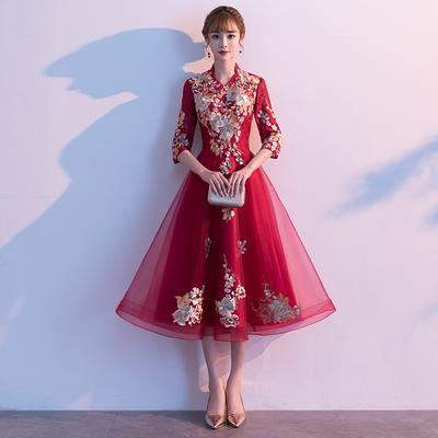 酒紅色敬酒服2020年新款春季夏季仙氣新娘長袖大氣結婚禮服小個子