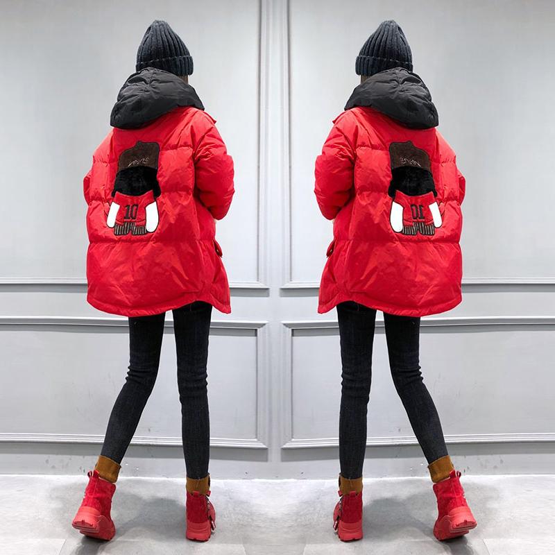 红色羽绒服女中长款欧洲站冬装女装2020新款欧货潮时尚减龄外套冬