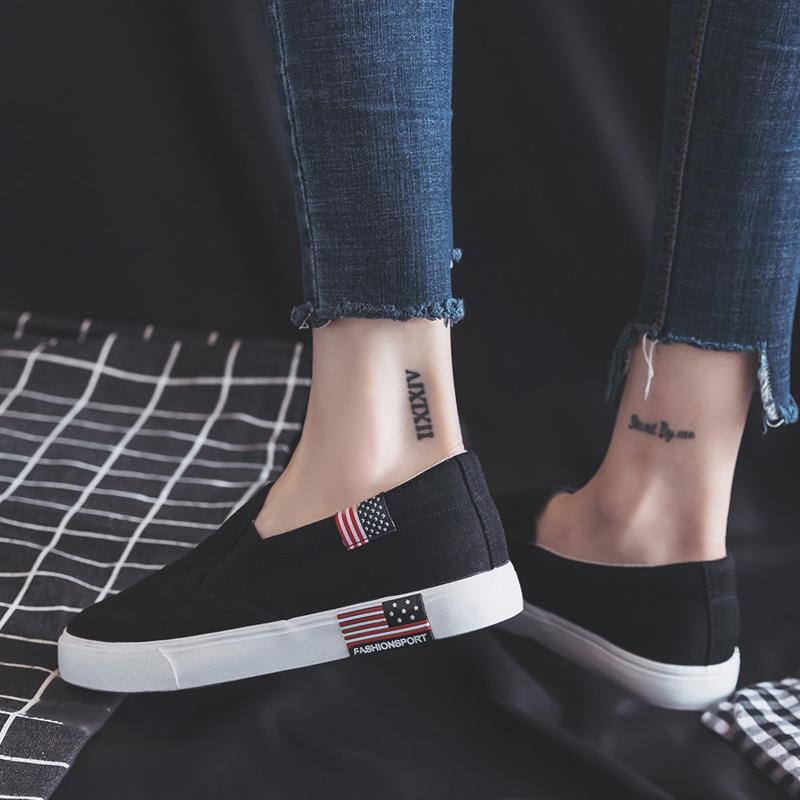 2018夏季新款帆布鞋女小白鞋黑色韩版百搭学生一脚蹬懒人板鞋布鞋