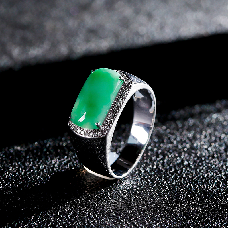 Miaoyin jade jade ring for men inlaid with 18K White Gold Natural genuine diamond inlaid jade saddle ring for men
