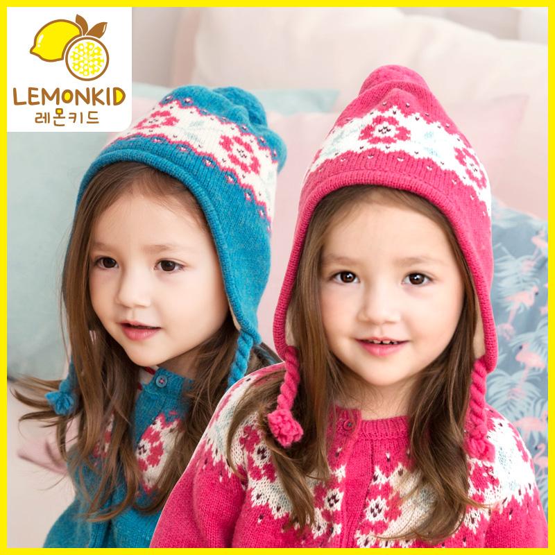 33柠檬宝宝儿童秋冬季帽子女童男童保暖加绒帽子可爱护耳套头帽