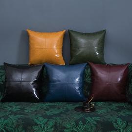 轻奢拼接拼色油蜡皮抱枕皮沙发抱枕客厅皮靠垫仿皮抱枕靠垫皮靠枕