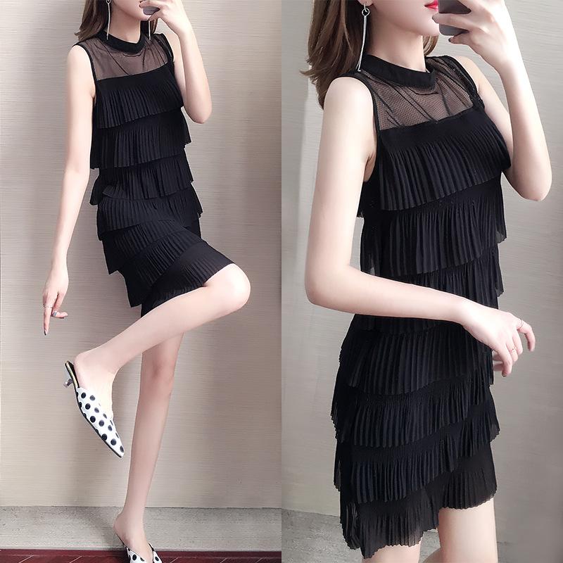 黑色无袖雪纺小黑裙连衣裙夏季2020新款韩版显瘦层层蛋糕裙a字裙