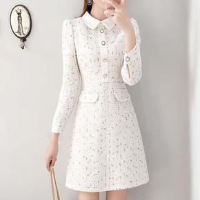 娃娃领小香风毛呢连衣裙女秋冬2020年新款显瘦内搭打底白色冬裙子