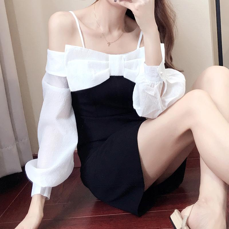 一字肩吊带连衣裙长袖春装2021年新款女韩版心机露肩性感蝴蝶结裙