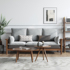 Nordic solid wood ash wood fabric sofa small apartment living room modern minimalist light luxury three-person winter and summer dual-use