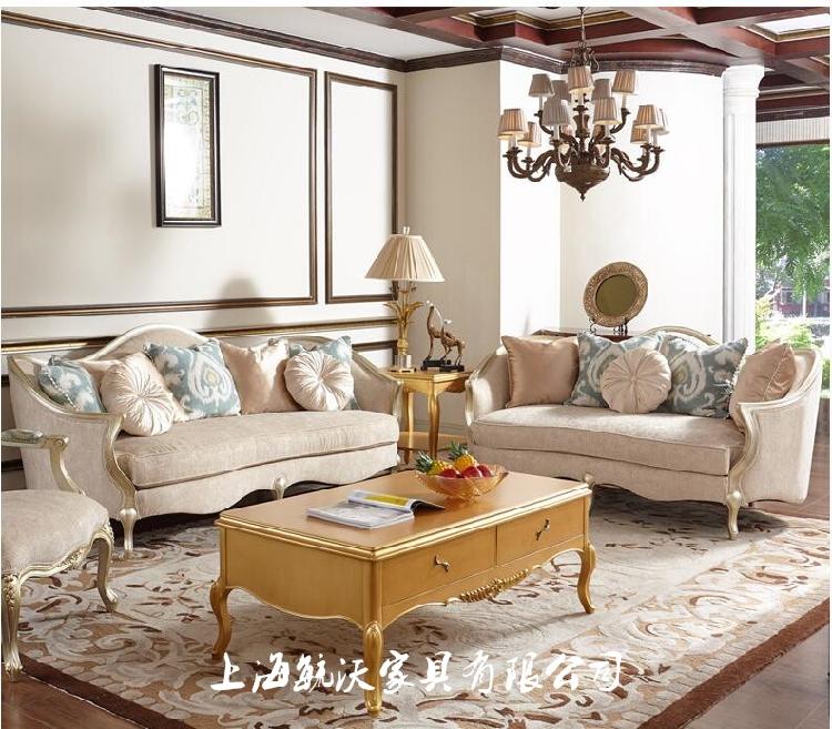 Американская легкая роскошная ткань из твёрдой древесины из ткани для гостиной с тремя сиденьями новый древний классический Шампанское Вилла Клуб для отдыха диван
