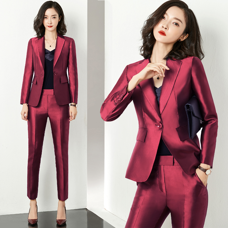 Autumn and winter red temperament fashion suit business suit business suit women Satin suit women president business suit