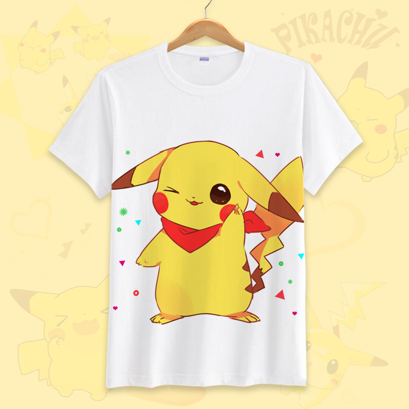 皮卡丘新款T恤男女童装成人款精品短袖口袋周边动漫精灵宝可梦