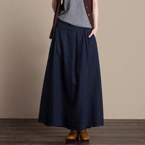 复古优雅亚麻半身裙女夏季宽松简约纯色显瘦纯亚麻a字半身长裙子