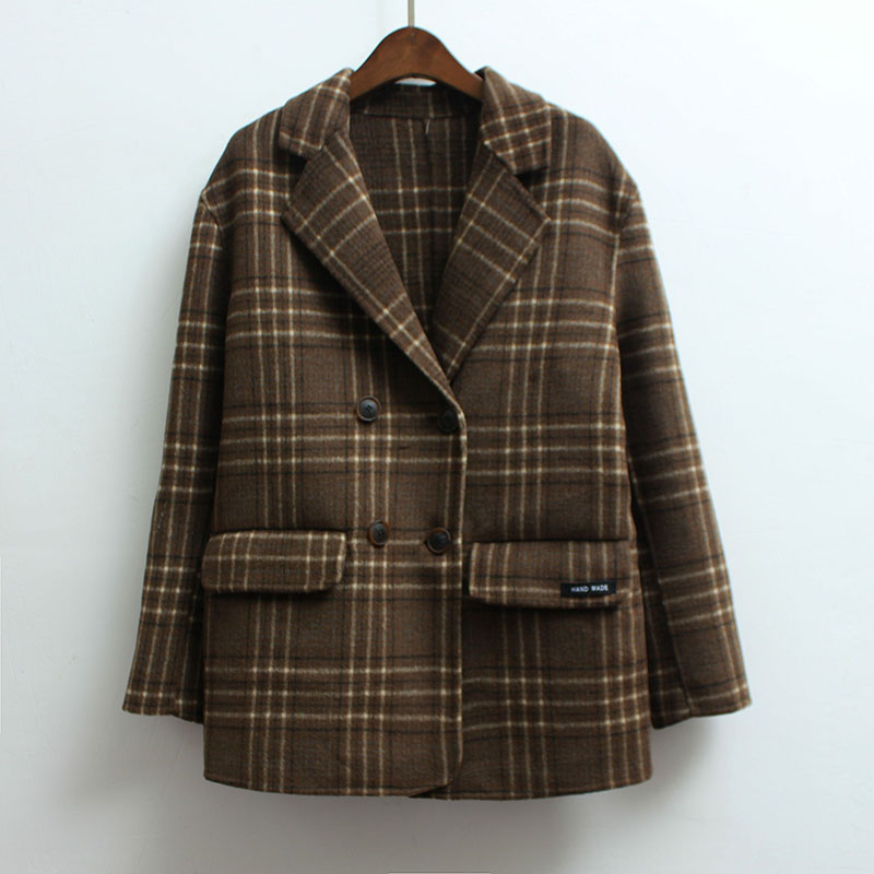 Plaid womens Blazer double breasted spring 2020 new coat womens double cashmere thin short wool coat