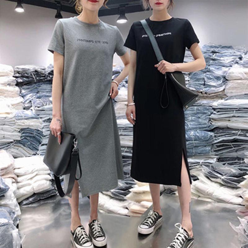2019夏季新款女长裙韩版大码宽松圆领短袖小黑裙套头过膝连衣裙子