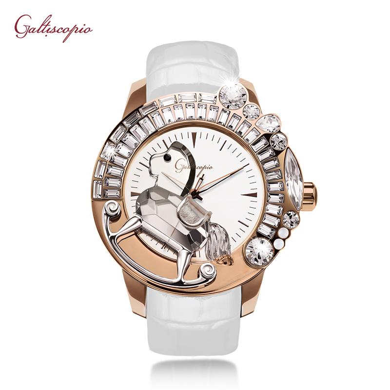 Galtiscopio腕表迦堤手表女玫瑰金3D木马法国进口时尚女士手表