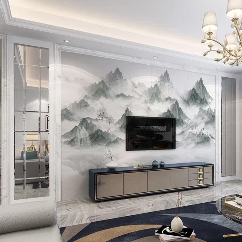 现代中式江山如画沙发客厅背景墙砖石材边框电视背景墙瓷砖微晶石满40.79元可用4.49元优惠券