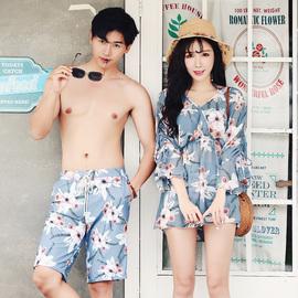 情侣泳衣套装海边度假蜜月泳衣温泉比基尼三件套裙式分体性感遮肚