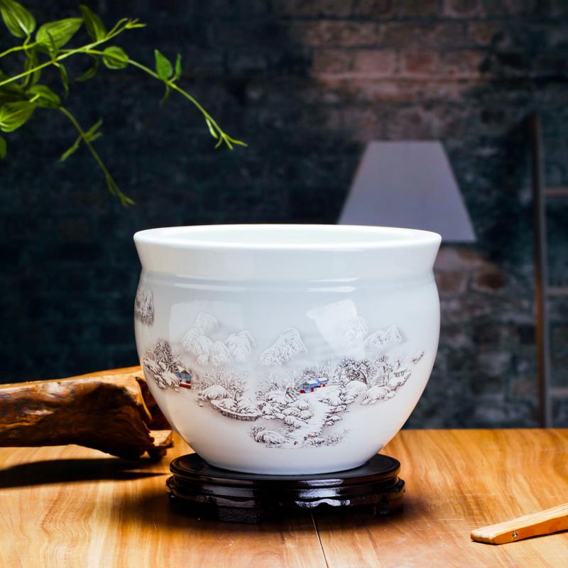 景德镇小型金鱼碗莲花盆瓷陶瓷鱼缸
