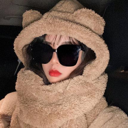 小熊帽子女秋冬季百搭新款2020网红韩版连帽围巾手套一体围脖保暖