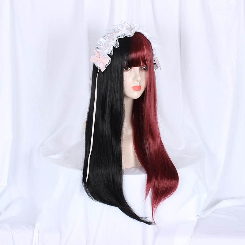 Wig female long straight hair net red daily Lolita JK wig Japanese Harajuku nature full head cover