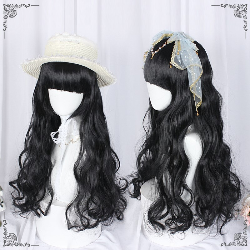 Lolita wig womens long hair Lolita decorates facial mask red black big wave everyday soft girl sweet wig