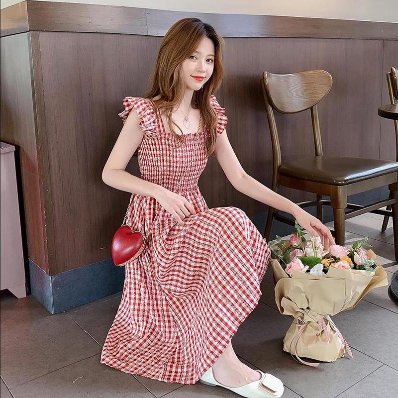 含棉 小格子连衣裙2020新款春夏a字吊带裙无袖智熏裙法式桔梗裙子