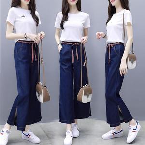 两件套裤短袖上衣牛仔高腰阔腿裤休闲时尚套装女新款女装夏装