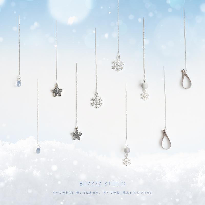 冬季新品 雪花系列简约长款合适圆面气质超仙耳环耳线耳钉女图片