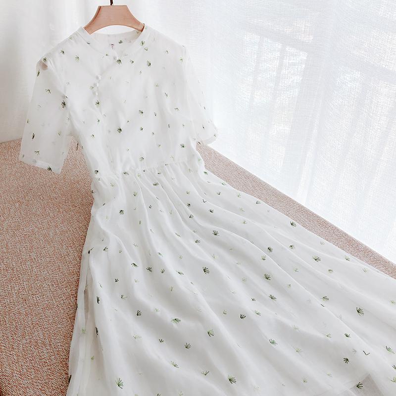 旗袍改良版年轻款小清新少女连衣裙限5000张券