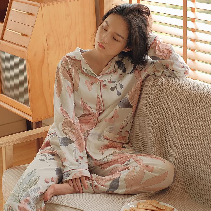 贴身日记素雅花朵叶子舒适棉质翻领长袖裤家居服空调房睡衣套装女