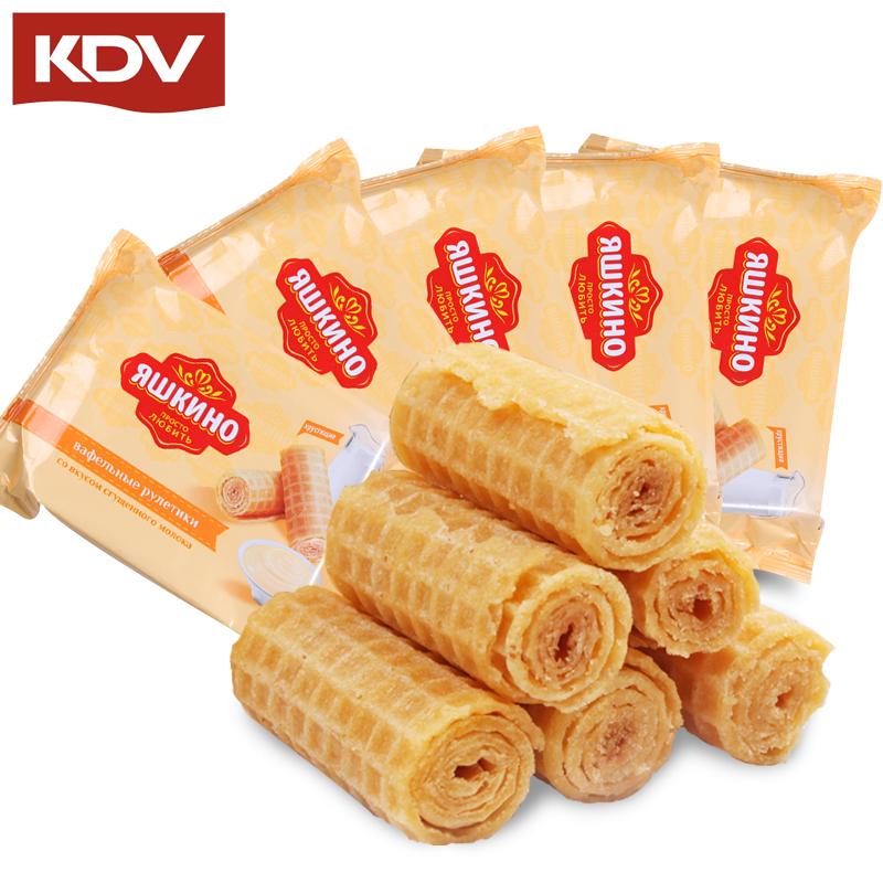 俄罗斯进口KDV炼乳香酥蛋卷奶油饼干夹心酥脆零食160克*4包包邮,可领取3元天猫优惠券