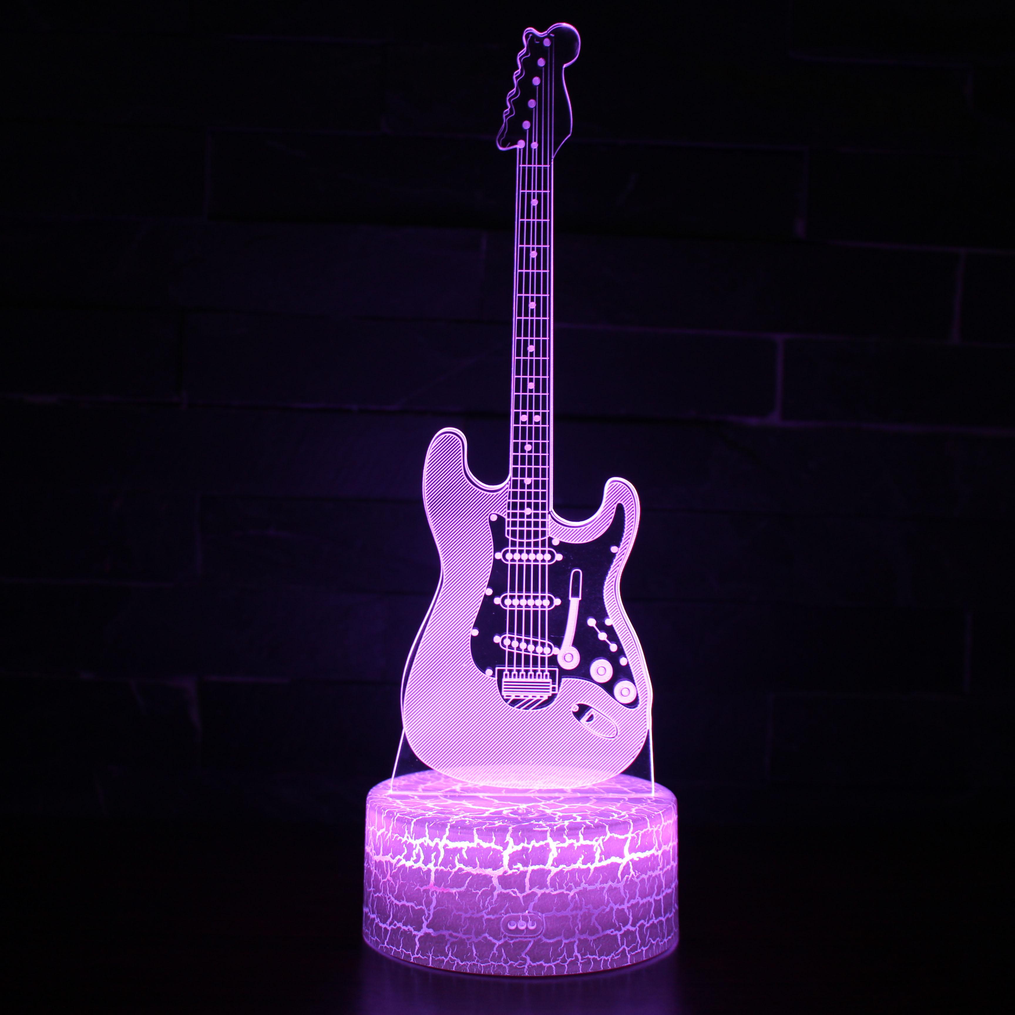 3d立體吉他充電led個性創意裝飾臺燈卧室七彩氛圍小夜燈生日禮品