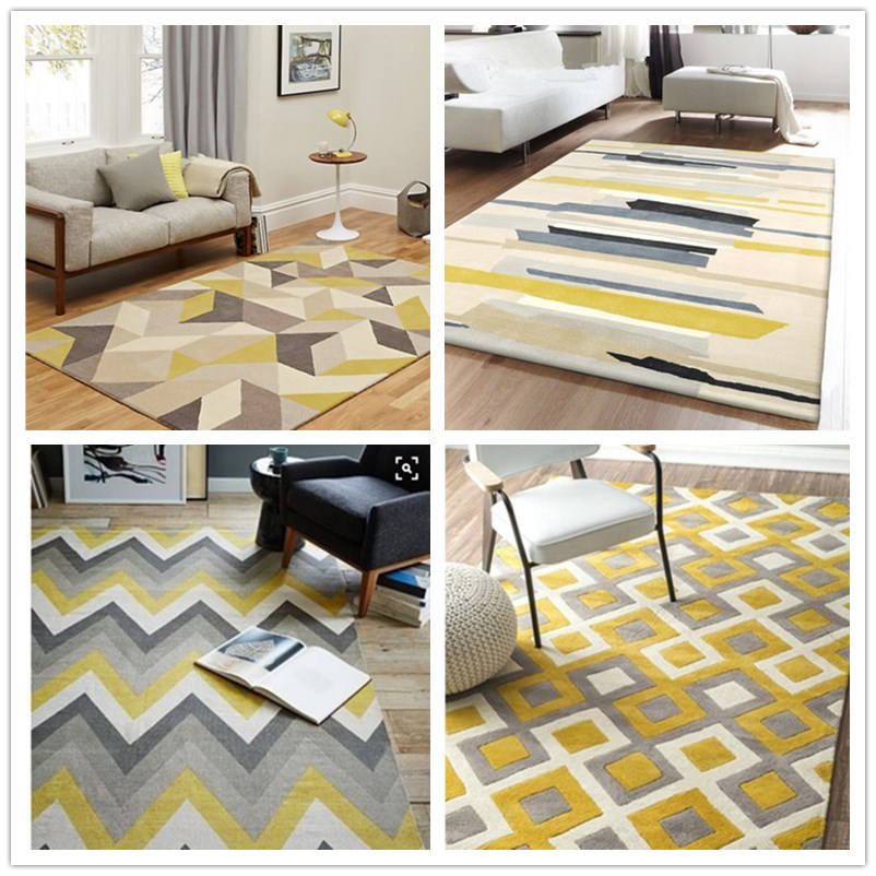 Nordic IKEA style geometric pattern carpet living room European modern sofa coffee table bedroom bedside rectangle