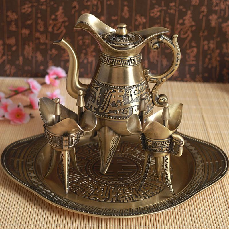 复古青铜酒杯三角爵杯中式古代酒杯酒壶礼品酒具套装乾隆杯高脚杯