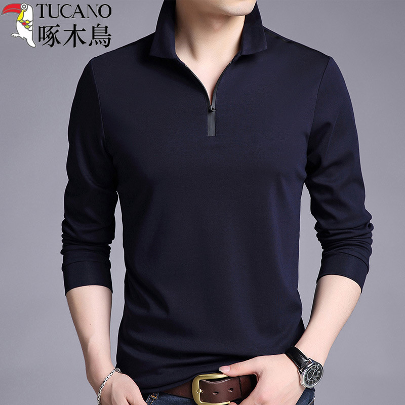 Woodpecker has zipper to lead men to make a small bottom shirt, modal soil clothes, pure cotton long sleeve T-shirt in spring and autumn