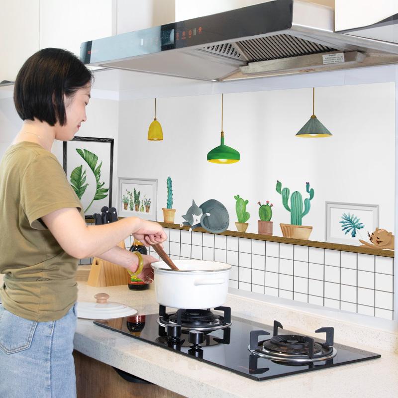 厨房防油贴纸柜灶台耐高温瓷砖墙贴
