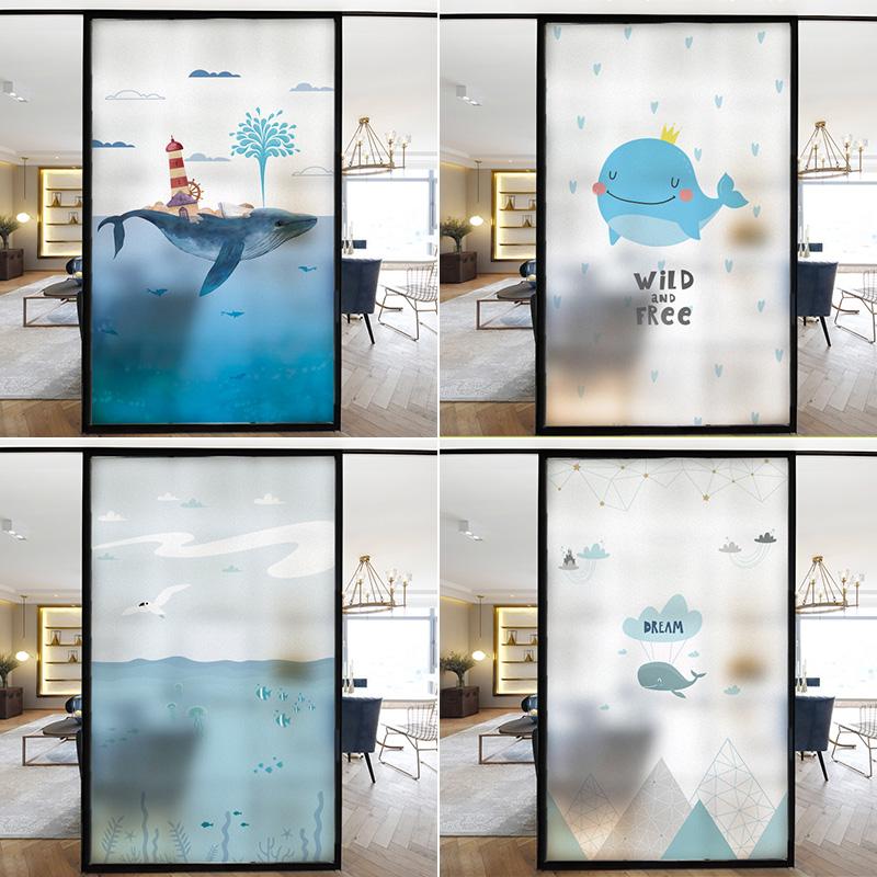 家用卫生间窗户静电磨砂遮光装饰玻璃膜浴室推拉门透光不透明贴纸券后10.00元