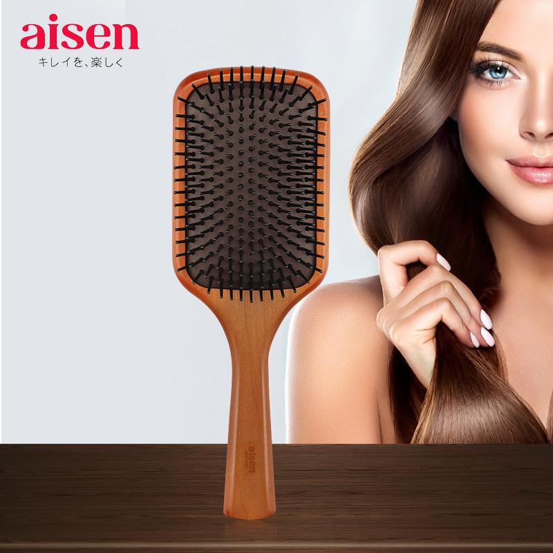 日本AISEN护发梳子进口气垫梳男女美发梳气囊顺发按摩梳顺发木梳图片