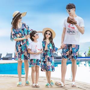 沙滩亲子装海边度假夏天高端母子母女连衣裙一家三口四口洋气套装