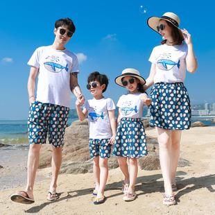親子裝情侶夏裝新款潮一家三口四口海邊沙灘度假裙套裝全家母女裝