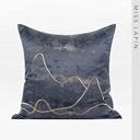 澜品家居简约现代/沙发装饰靠包抱枕靠垫/蓝金色抽象线条绣花方枕