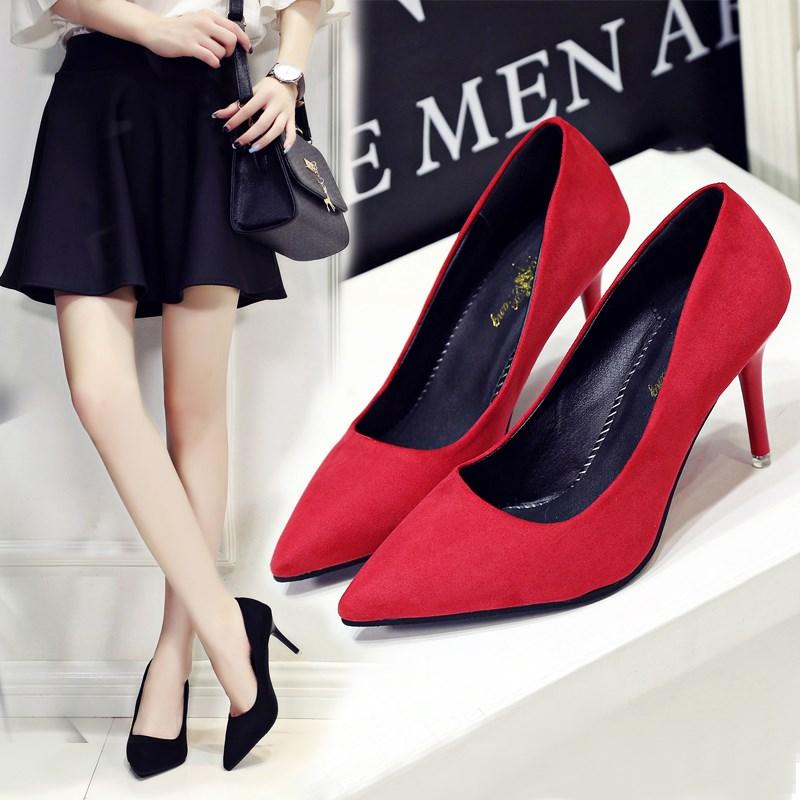 黑色绒面浅口性感女鞋尖头细跟高跟鞋韩版职业白领ol工作鞋