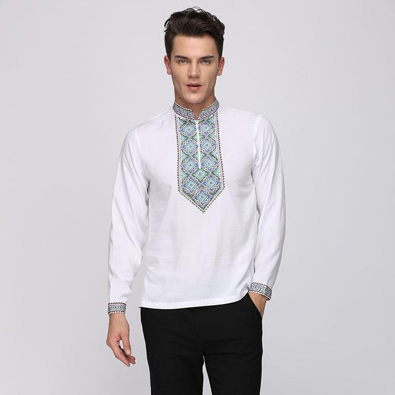 中国风男装新疆刺绣长袖T恤 秋季圆领宽松纯棉大码百搭民族风上衣