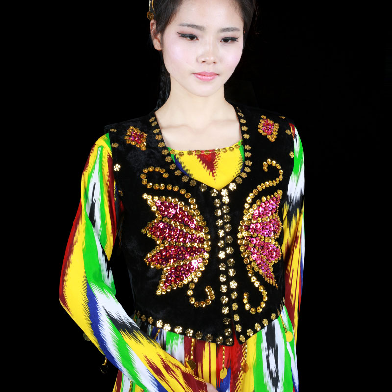 新疆舞蹈服马甲舞台演出珠片马夹坎肩女士成人背心舞蹈道具民族舞