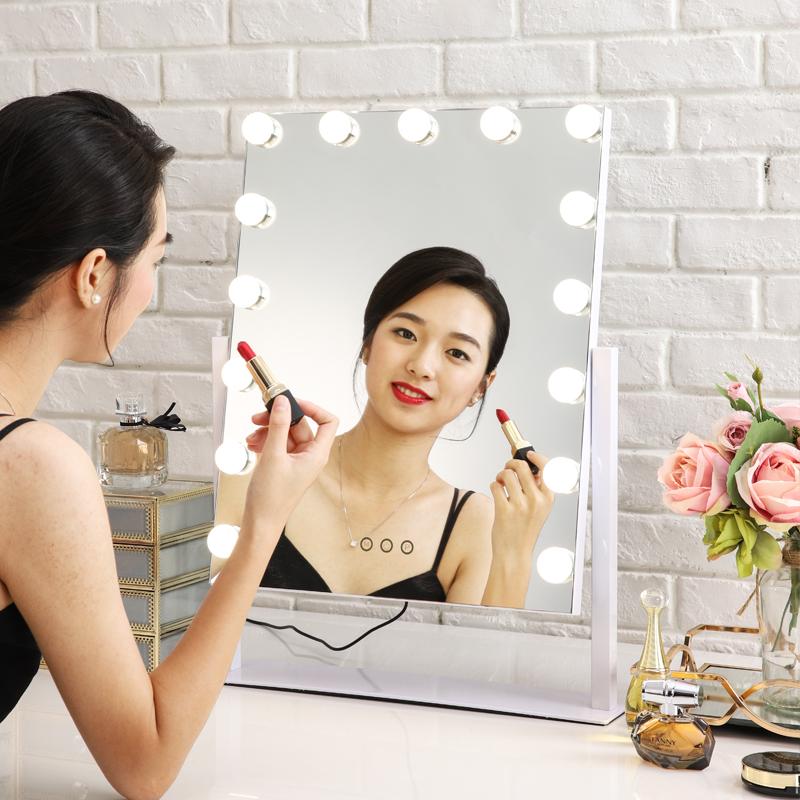 米卡化妆镜带灯台式充电补光美容带灯led 灯泡镜子梳妆镜直播美颜