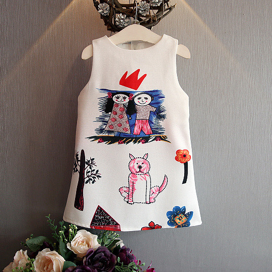 2016 Летние платья принцессы платье Новый корейский мультфильм граффити цифровой печати сарафан платье
