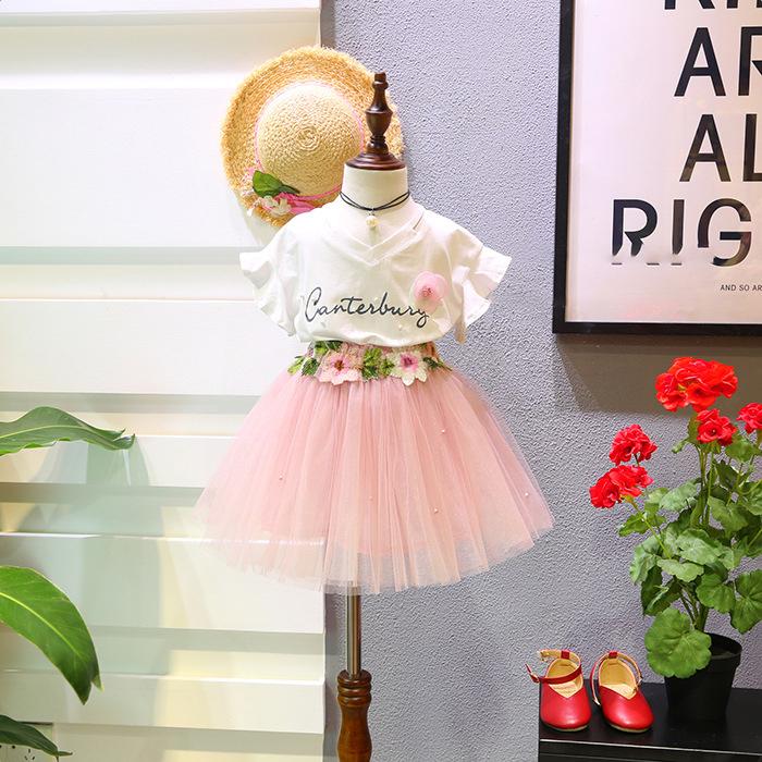 2018春裝新款韓版女童卡通字母釘珠短袖上衣+繡花多層半身裙套裝
