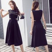 2018 mùa hè sexy Hepburn nhỏ màu đen váy mỏng mỏng dài váy đầm rỗng eo thủy triều